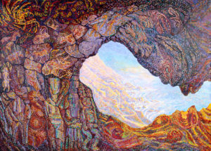 caves to cosmos painting, panel 1