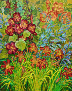 Hollyhocks, Day Lilies, acrylic painting