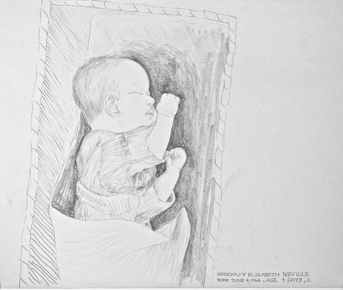 graphite drawing: Gwendolyn Elizabeth Neville, infant