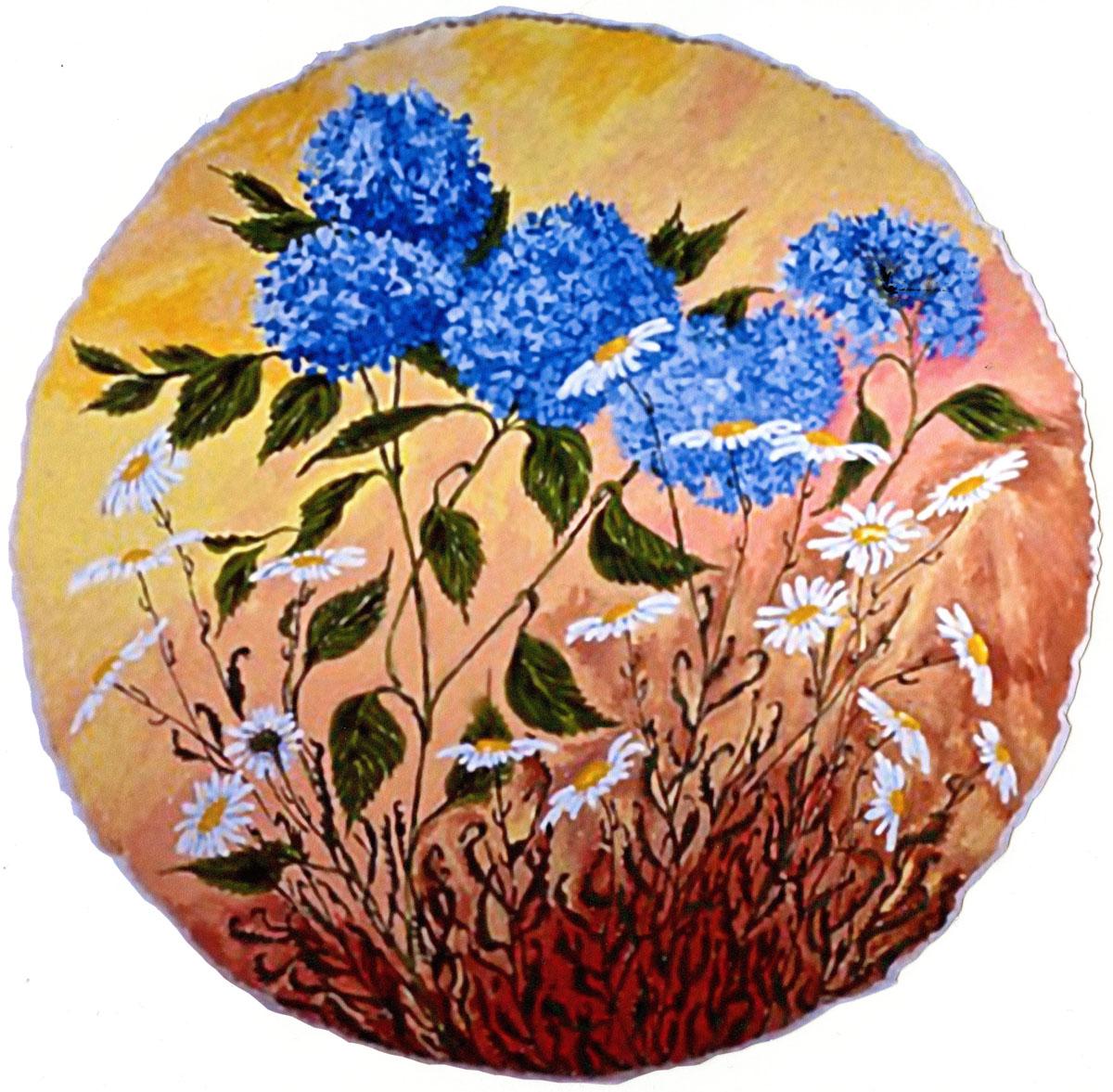Hydrangeas Shasta Daisies: acrylic painting