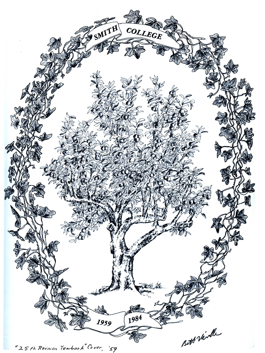 """Neville drawing of """"Ivy Chain,"""" 25th Smith reunion, 1959 """"Class Book,"""""""