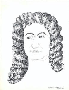 drawing: Gottfried Leibniz portrait