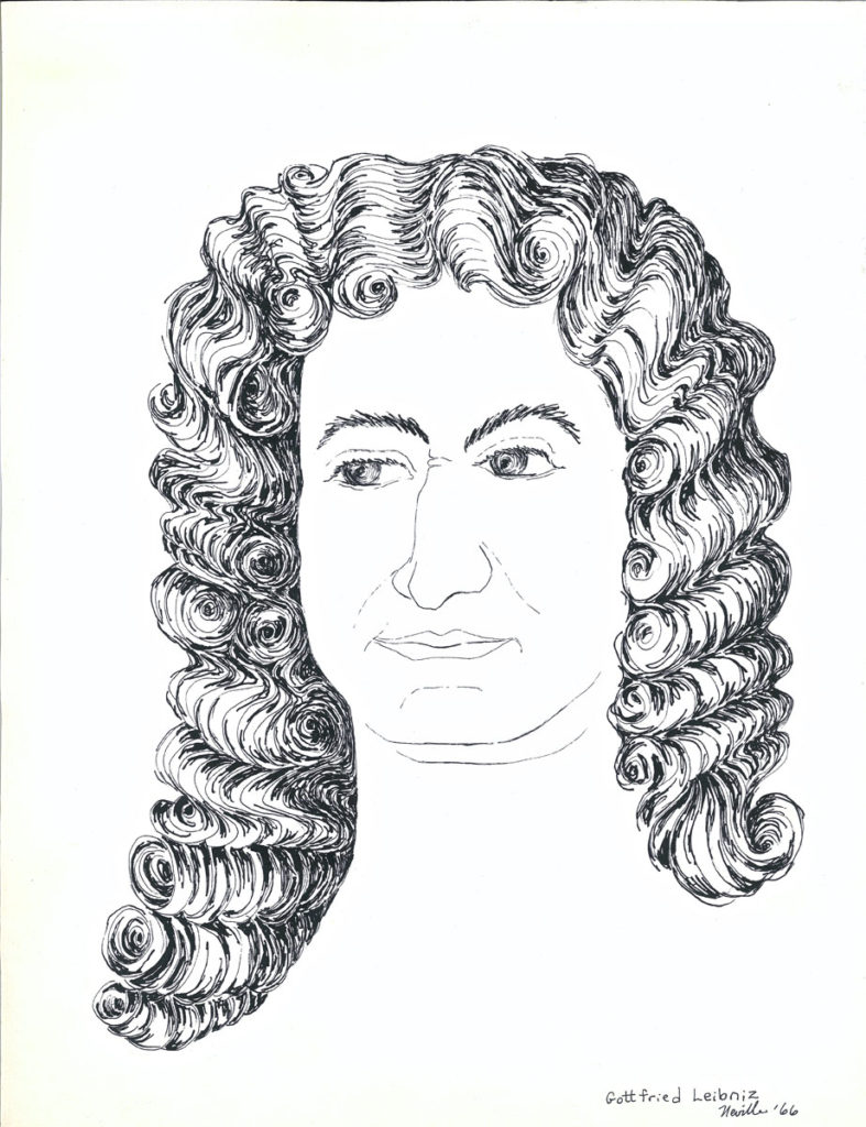drawing: Gottfried Leibniz portrait