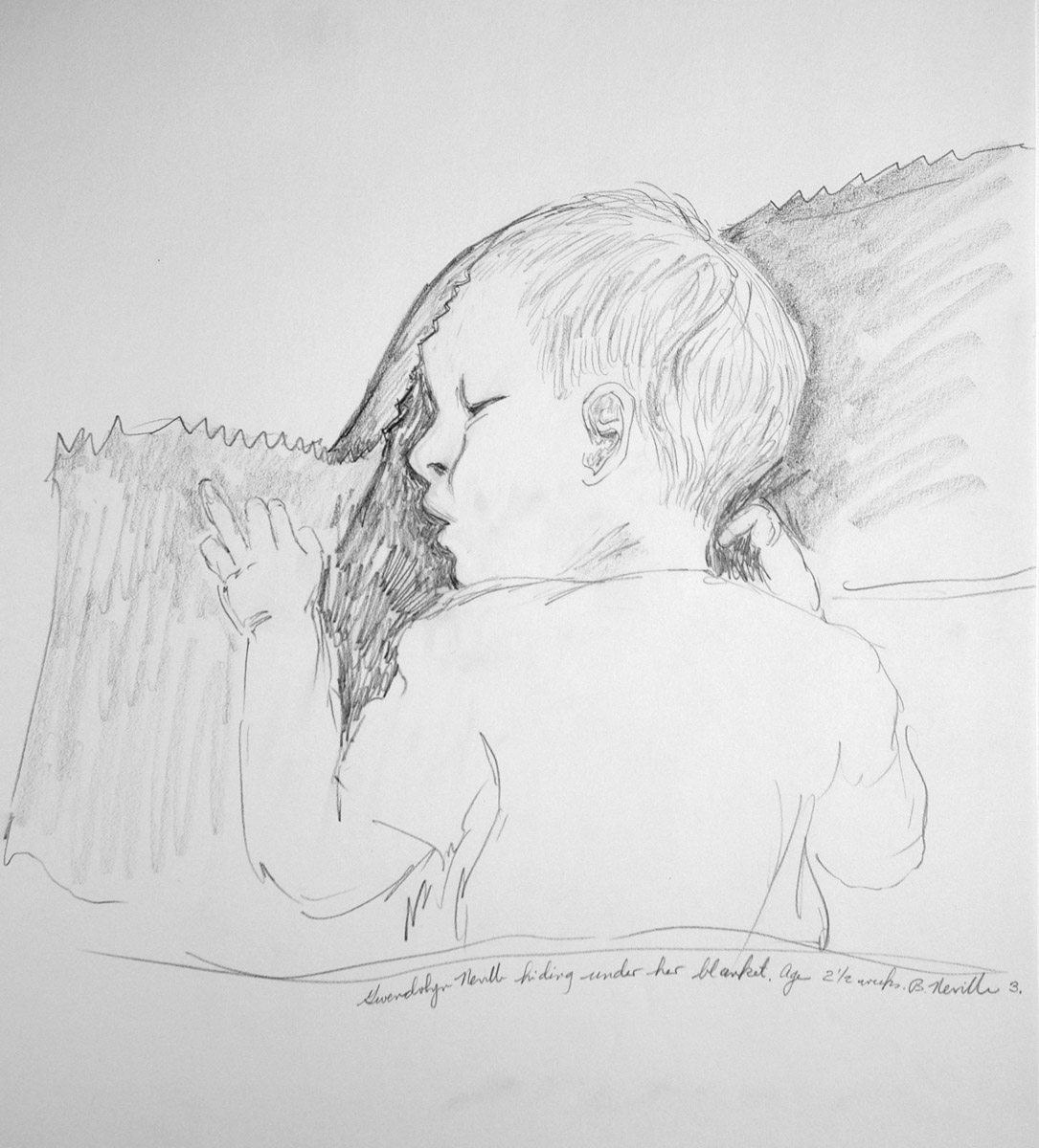 drawing: Gwendolyn under blanket