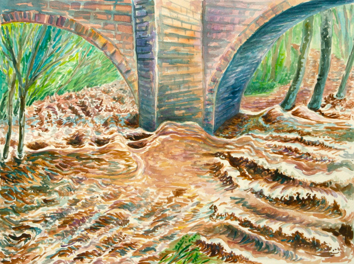 watercolor: L'Aude River, full flood