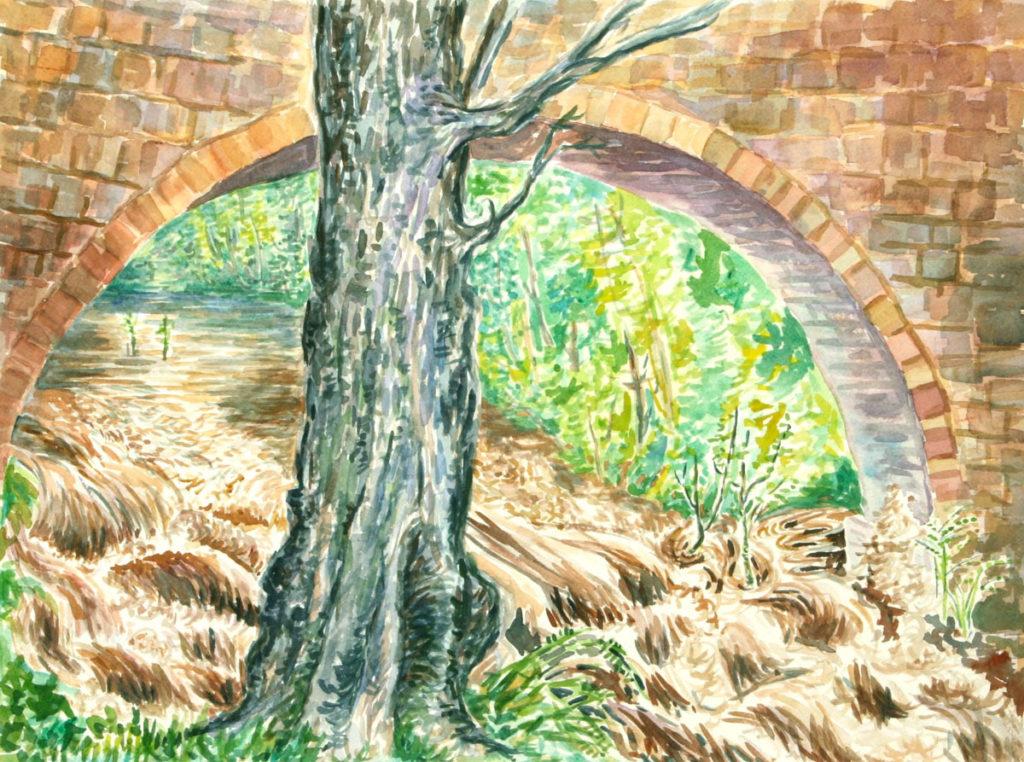 watercolor: L'Aude River, Flood