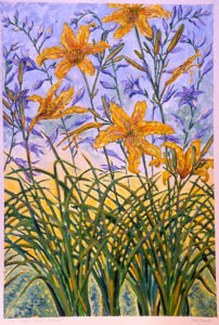 10 Day Lilies, Blue Hosta: acrylic painting