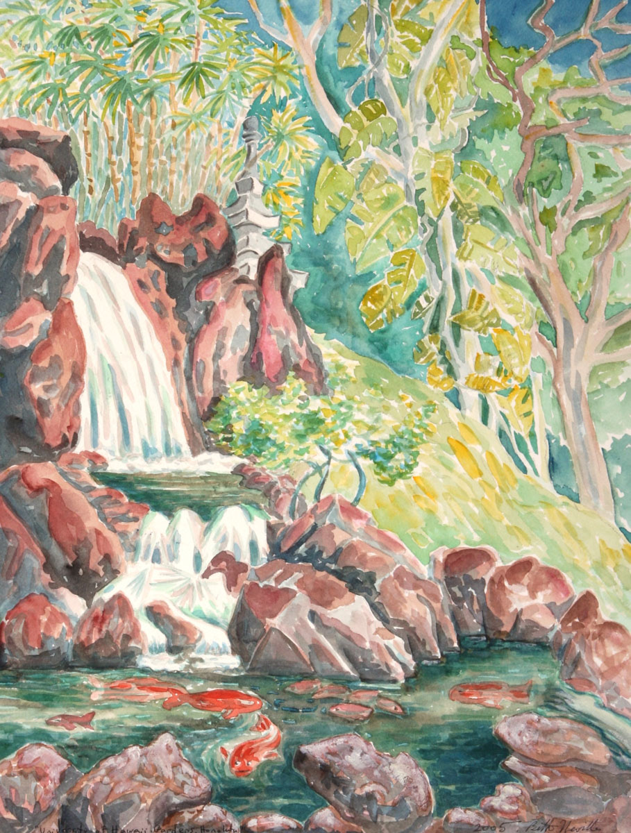 watercolor: park stream, university of Hawaii