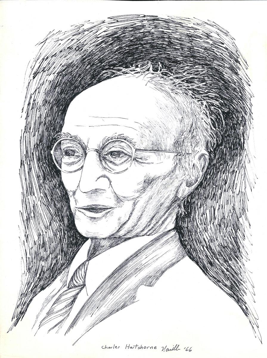 drawing: Dr. Charles Hartshorne portrait