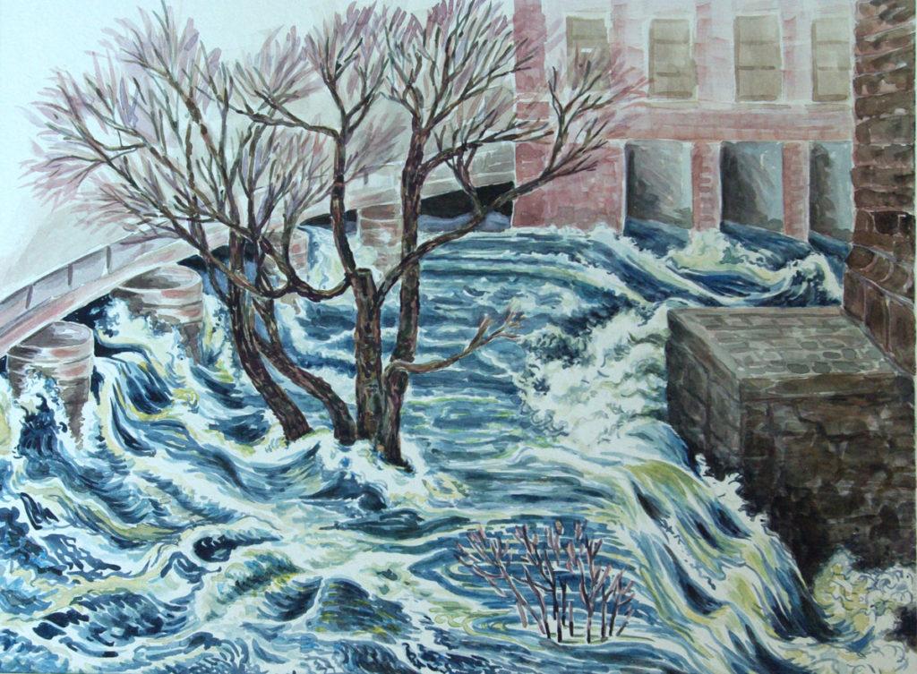 watercolor: Flood Neponset River Dorchester Bridge