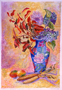 Dogwood, Hydrangea: acrylic painting