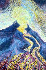 Volcanic Explosion #1, acrylic painting