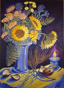 Sunflower by Candlelight: oil painting