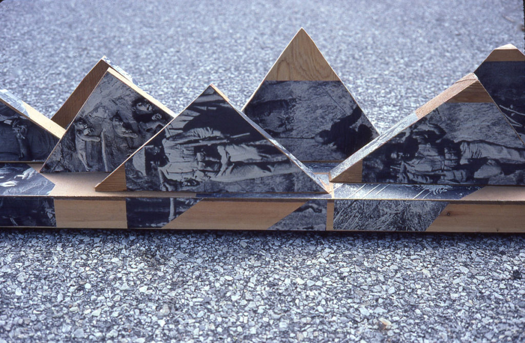 wood sculpture: The Saw, detail