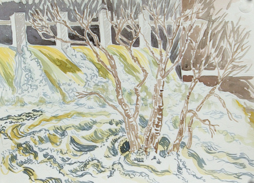 watercolor: Yellow Water Flood Neponset River Dorchester MA