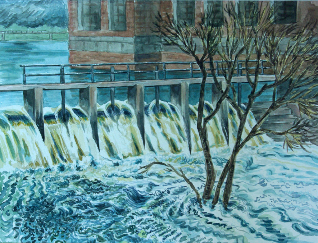 watercolor: Lower Mills Flood Neponset River Milton MA