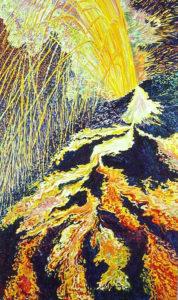 Volcanic Explosion #3, acrylic painting
