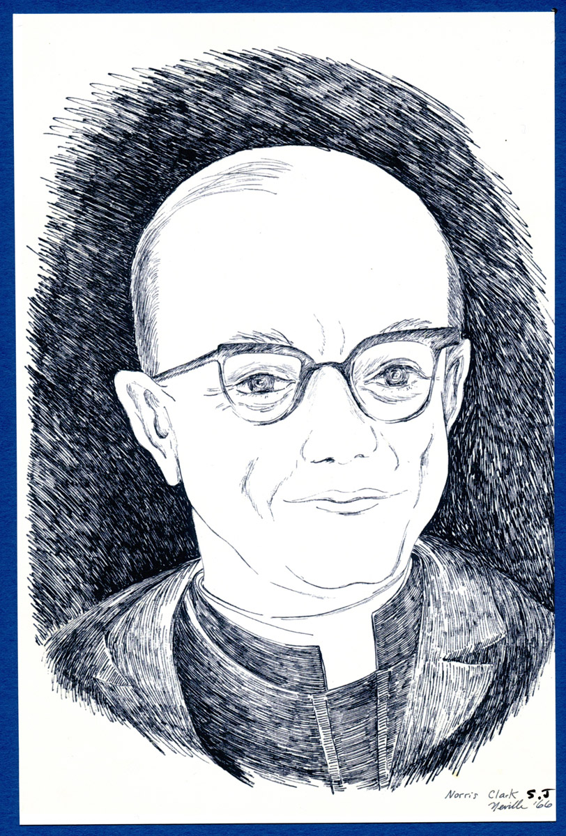 portrait illustration of Rev. Norrie Clark SJ