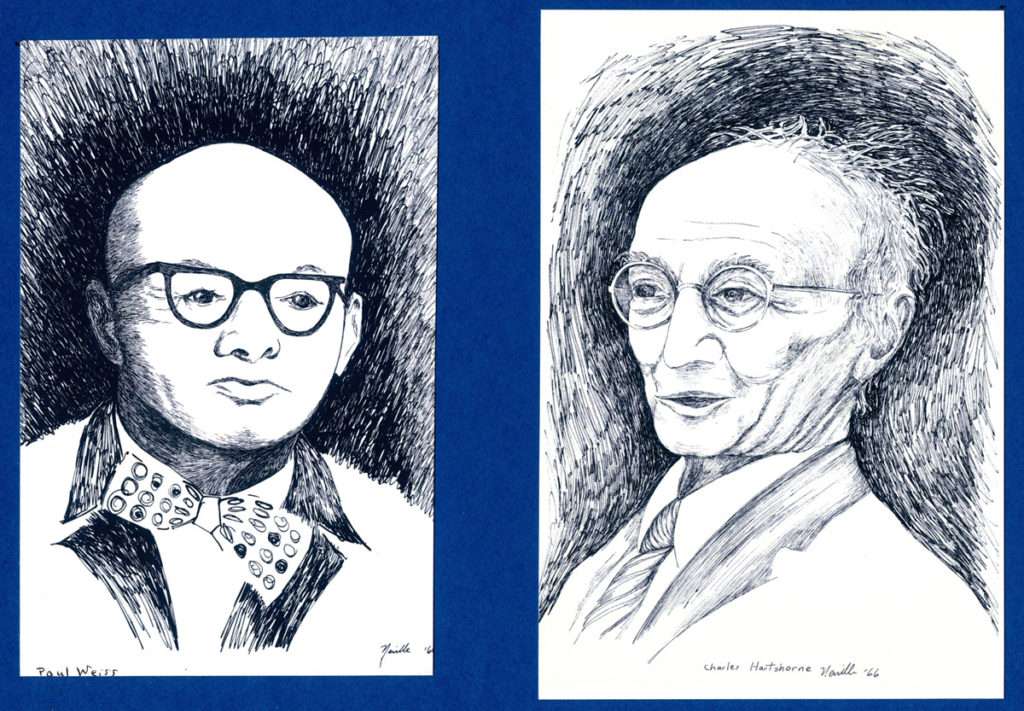 portrait illustrations of Paul Weiss and Charles Hartshorne
