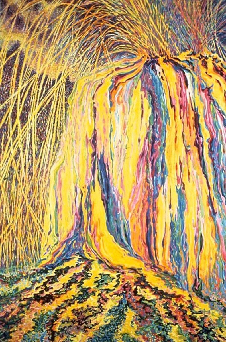 Yellow Lava Flow, acrylic painting