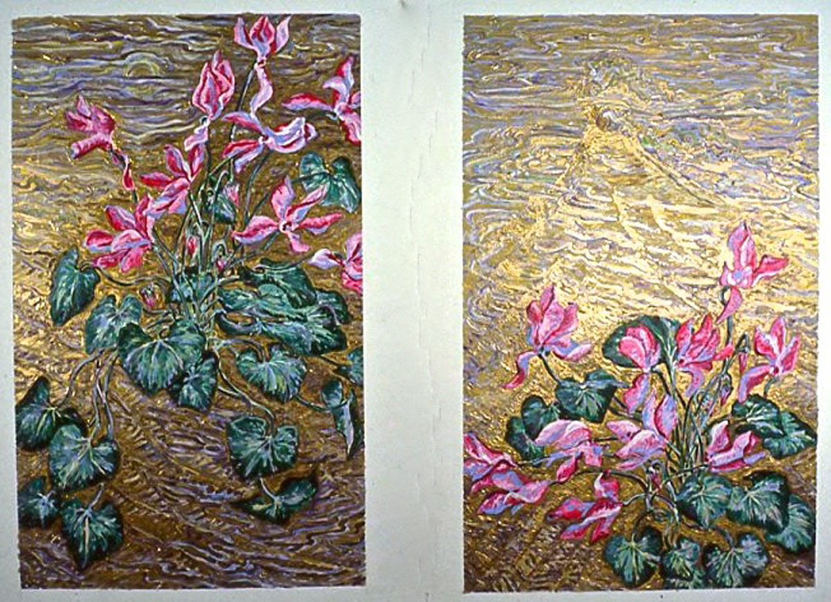 Gloxina and Mt. Fuji: acrylic paintings