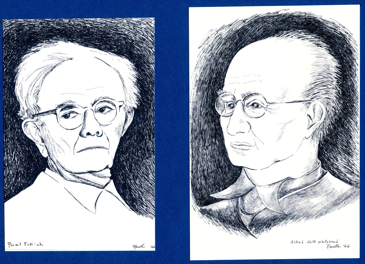 portrait illustrations of Paul Tillich and Alfred North Whitehead