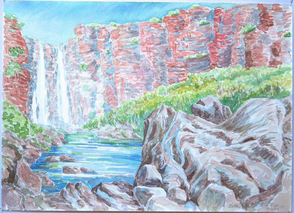 watercolor: Rocky Gorge, Jim Jim Falls, Australia