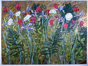 Dutch Iris, Roses, Carnations: acrylic painting