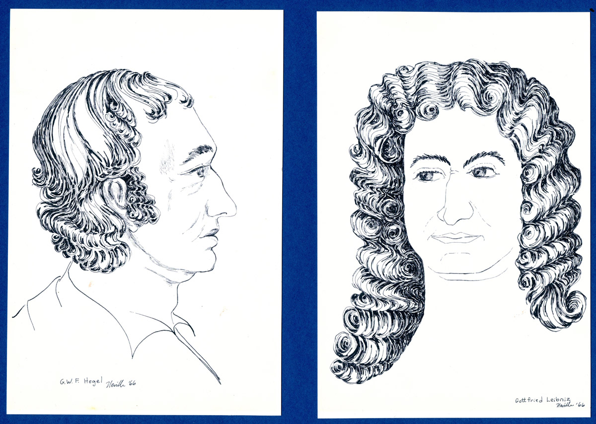 portrait illustrations of GWF Hegel, Gottfried Leibniz