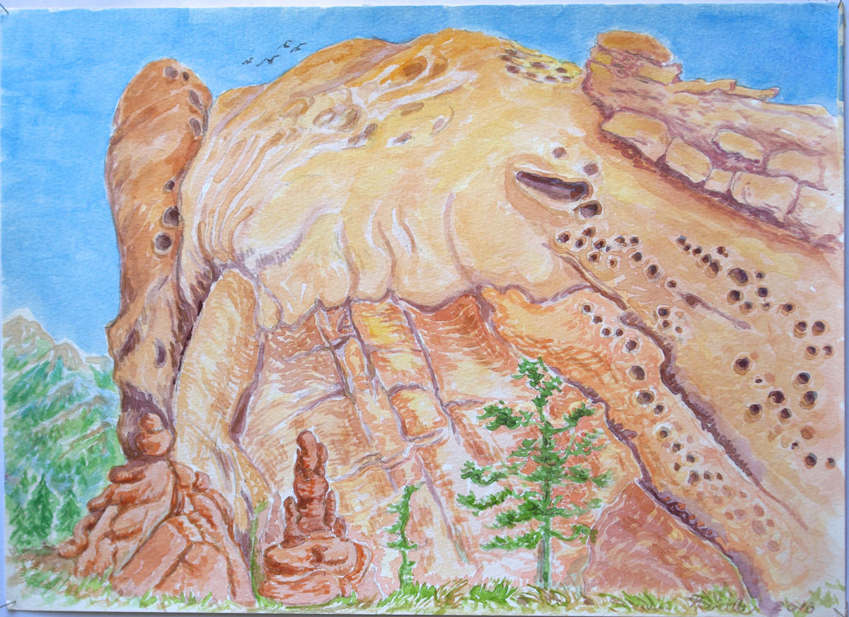 watercolor: Massive Rock, Garden of the Gods Colorado Springs CO