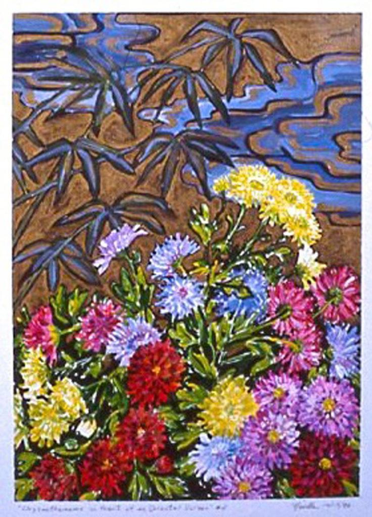 Chrysanthemums: acrylic painting