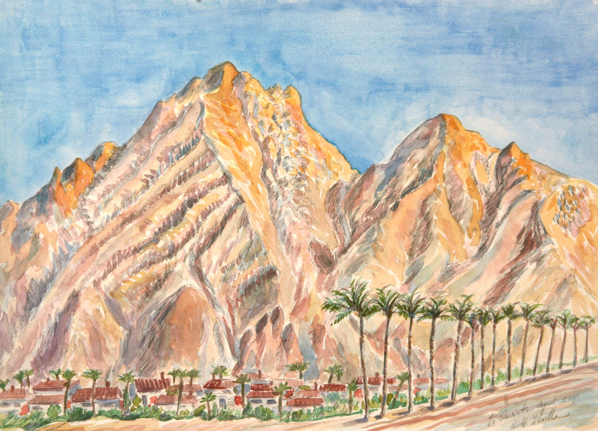 watercolor: Desert Palms Coachella Mountains Palm Springs CA