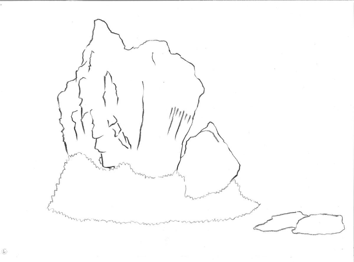 charcoal drawing: Ryoan-ji