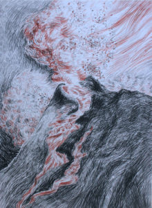 Eruption Volcano, Conte crayon and charcoal on paper