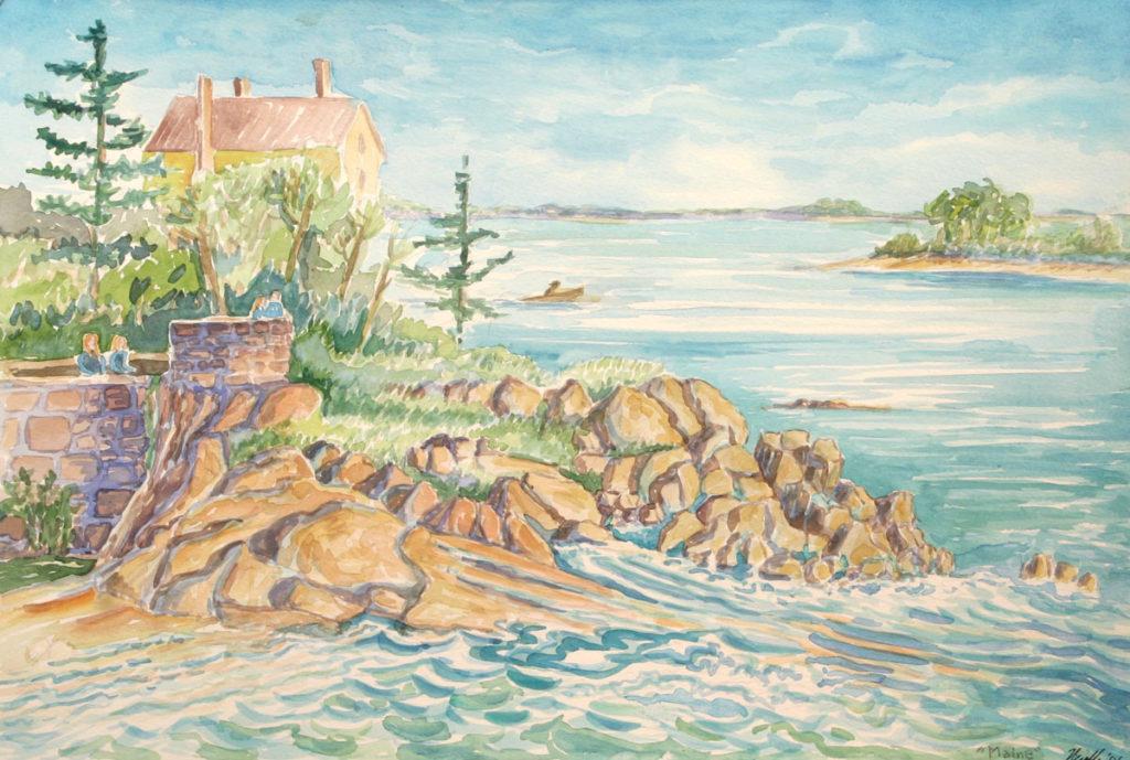 watercolor: Maine Coast, Promontory