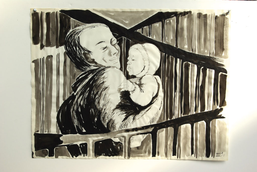 black sumi-e ink: Robert with Gwendolyn, Encaged