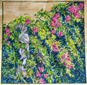 Aphrodite Statue and Rose Trellis: acrylic painting