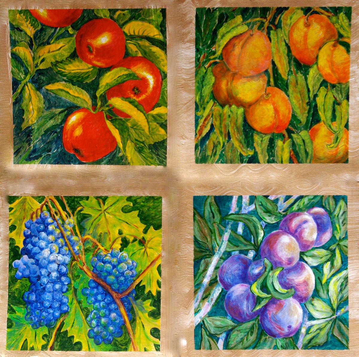 Luscious Fruit Quartet: acrylic painting