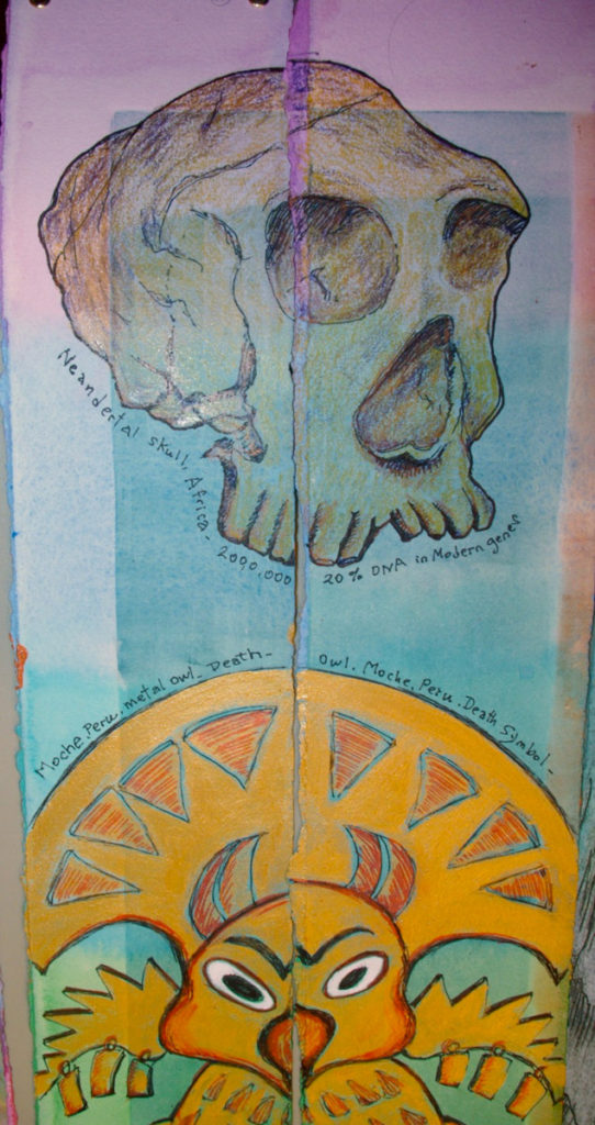 "27 Icons on the strips, ""Neanderthal Skull,"" ""Death Owl from Moche, Peru,"" colored pens, markers, acrylic paint."