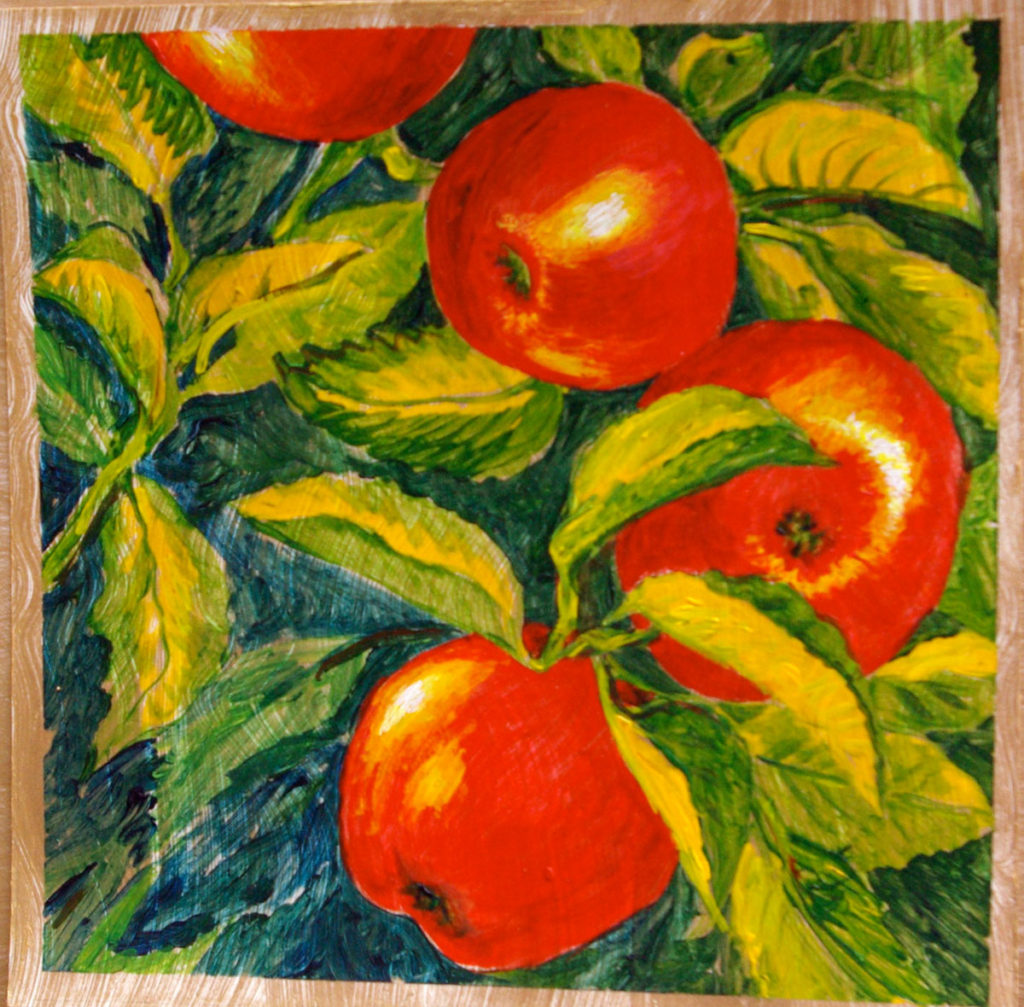 Red Ripe Apples: acrylic painting