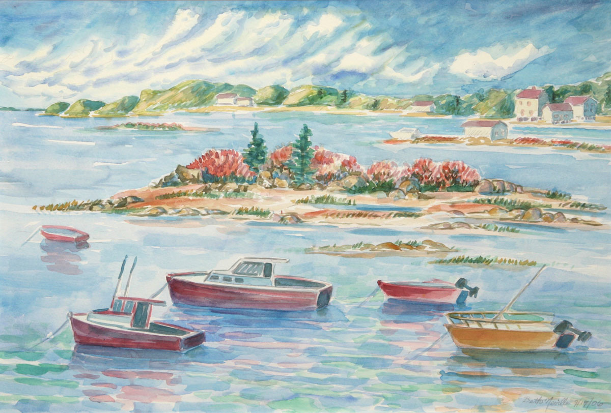 watercolor: Outboards in Harbor, Maine