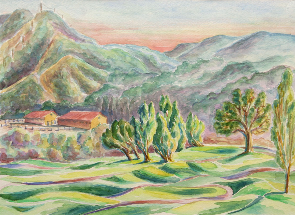 watercolor: Sunset, Ojai, CA