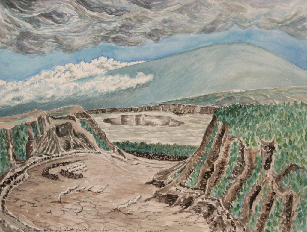 watercolor painting: Mauna Loa Caldera, Hawaii