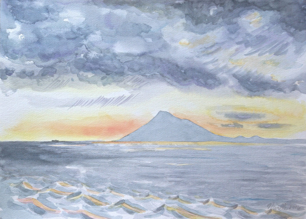watercolor painting: Mt. Etna, Twilight