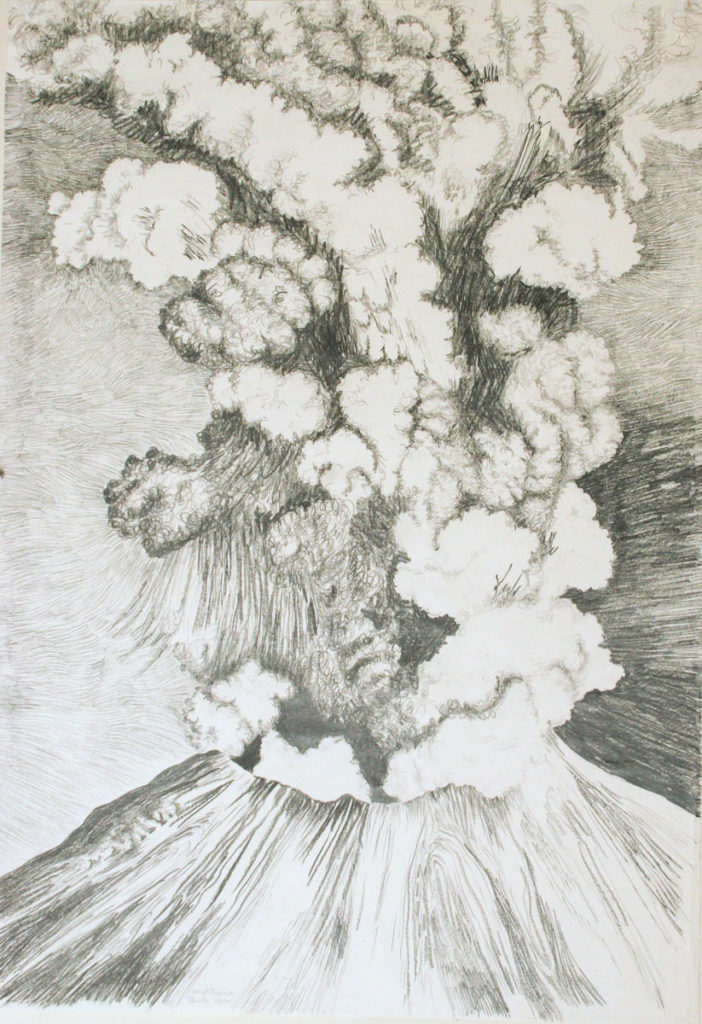 Mt. St. Helens, Fire: graphite on paper