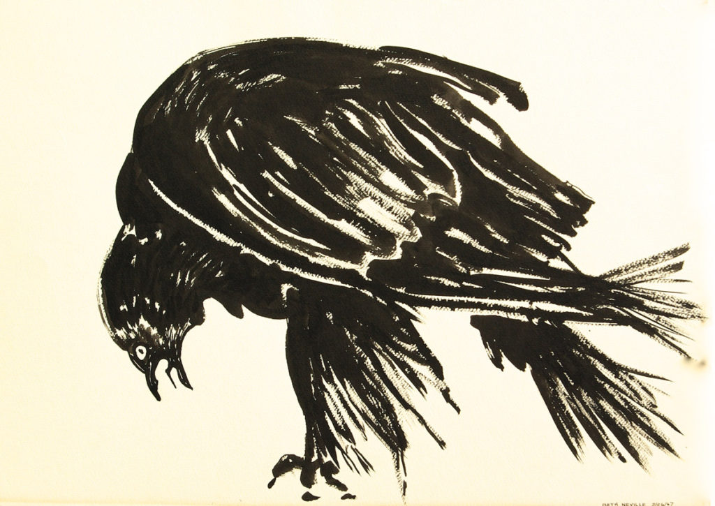 black sumi-e ink: Raven of Death Cawing