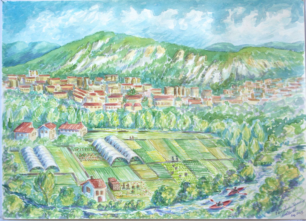 watercolor: Arga River Irrigation, Pamplona, Navarra, Spain