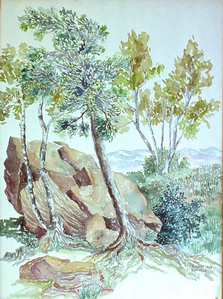 watercolor painting: Rock, Birch Tree, North Lake