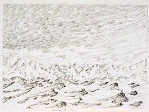Aquiescent Mountains detail, pen on paper