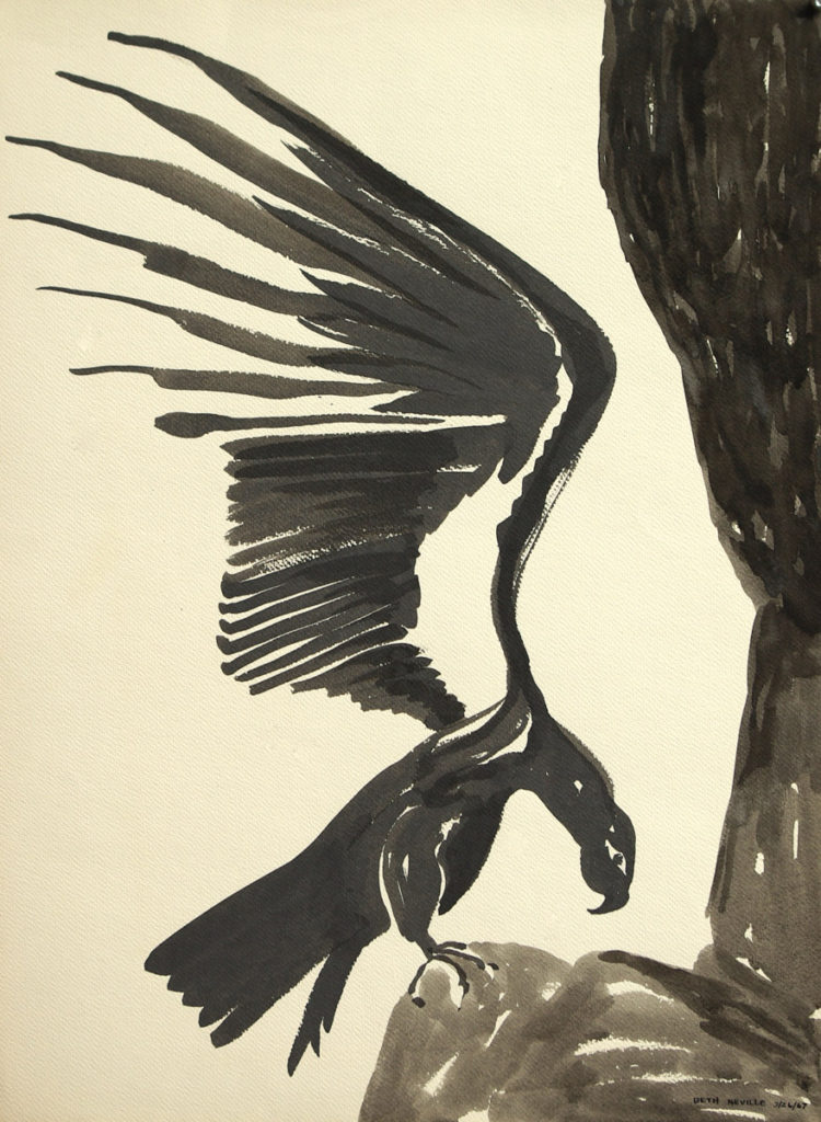 black sumi-e ink: Raven of Death Pouncing